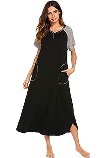 Hotouch Sleepwear Women s Casual Nightgown Short Sleeve Striped ... d6c873d65