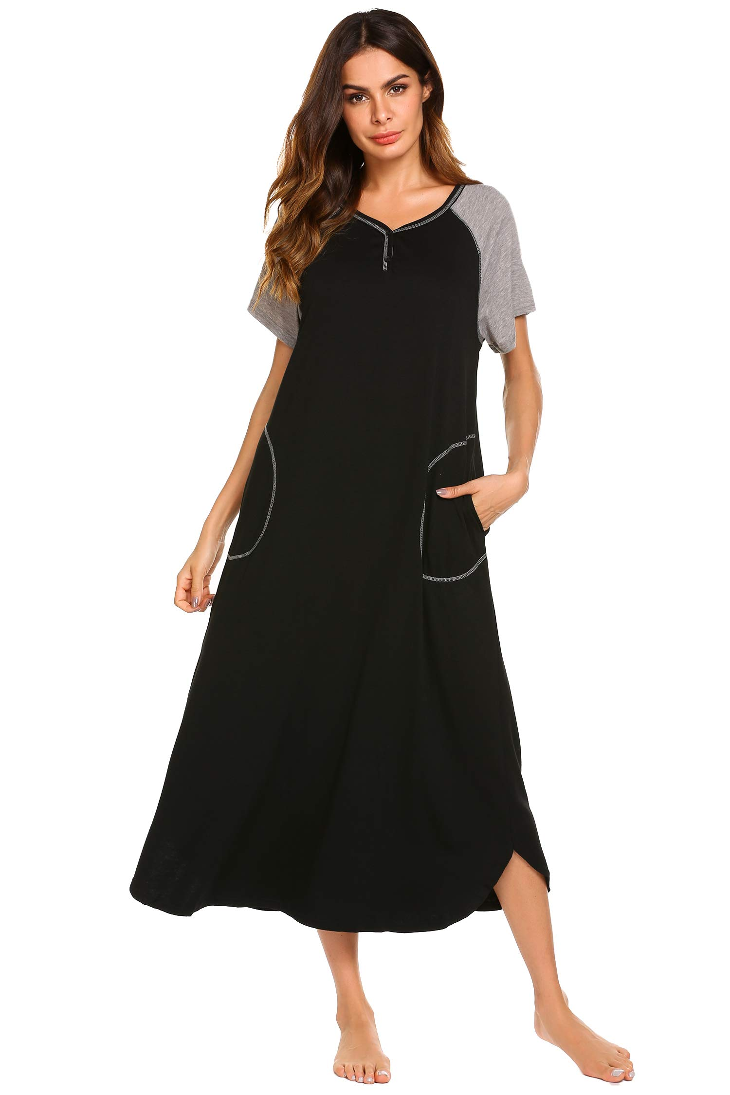 db9100e5a0920 Ekouaer Long Nightgown,Women's Loungewear Short Sleeve Sleepwear Full  Length Sleep Shirt with Pockets product