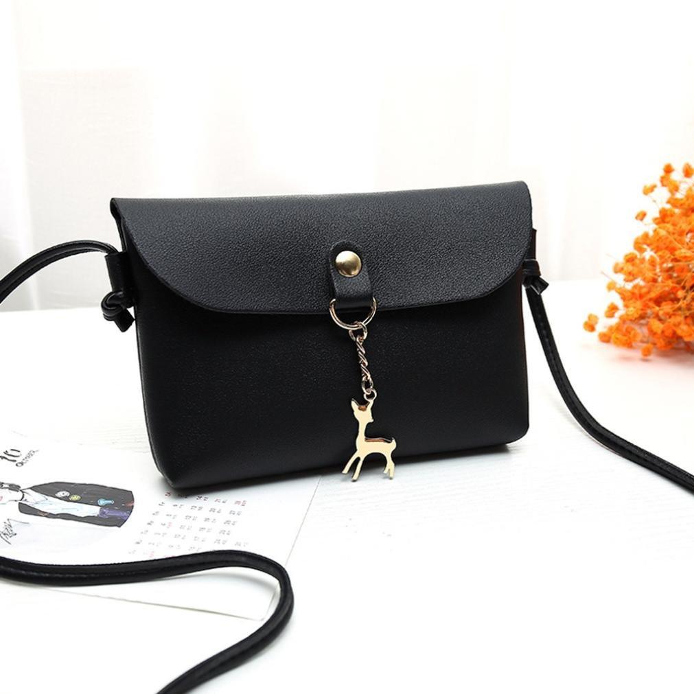 BCDshop Women Small Crossbody Shoulder Bag,GILR Deer Pendant Faux Leather Wallet Coin Purse (Black) by BCDshop Shoulder Bag (Image #3)