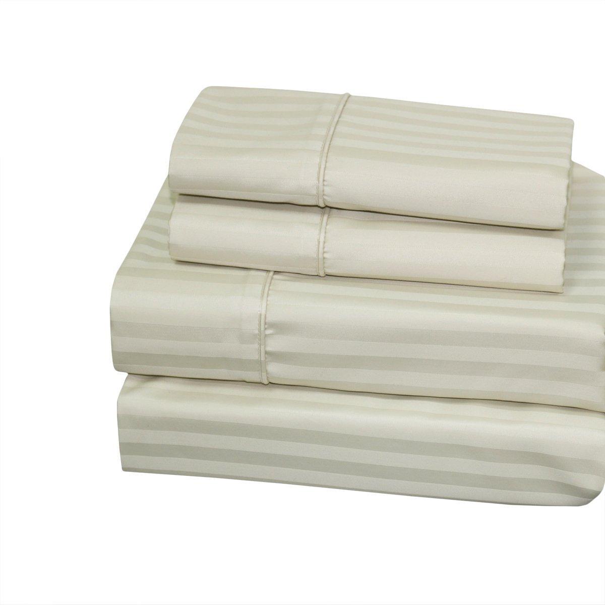 Sheetsnthings ストライプ 300 スレッド カウント シーツセット 100 % コットン ベッド シーツ 4 点セット (深いポケット)Extra-Pillowcases-King COMIN18JU034978 B01FKUT27Qアイボリー Extra-Pillowcases-King
