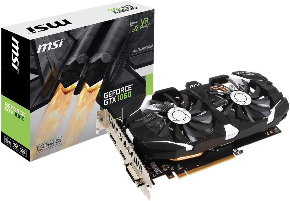 MSI GAMING GeForce GTX 1060 6GB GDRR5 192-bit HDCP Support DirectX 12 Dual Fan VR Ready OC Graphics Card (GTX 1060 6GT OCV1) (Renewed)