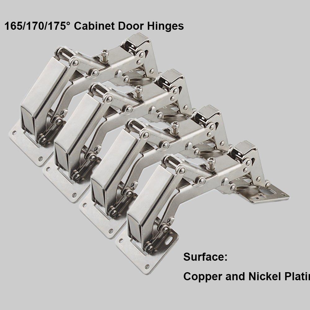 Pas de fente requise Charni/ères de porte grand angle 16 vis Facile /à installer Qrity Lot de 2 Charni/ères de porte pour armoires de cuisine de 170 degr/és