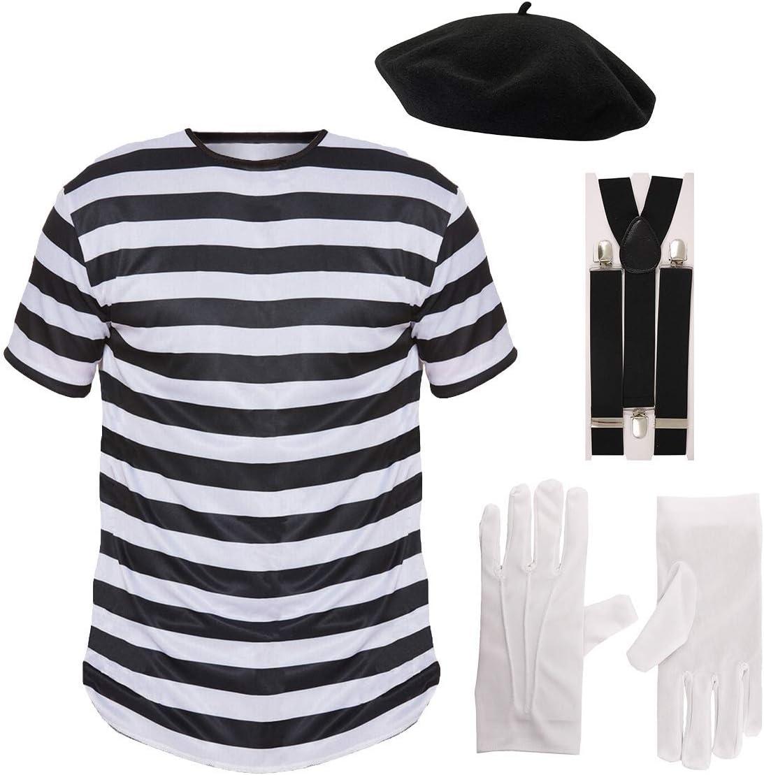Mens FRENCH MIME fancy dress 4 PIECE SET Men: 36//38 by PAPER UMBRELLA