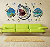 ANBER Set of 3 3D Window View Wall Sticker -Undersea Shark Fish Wall Decals Peel and Stick Wall Sticker Kids Rooms Wall Sticker Wall Decor