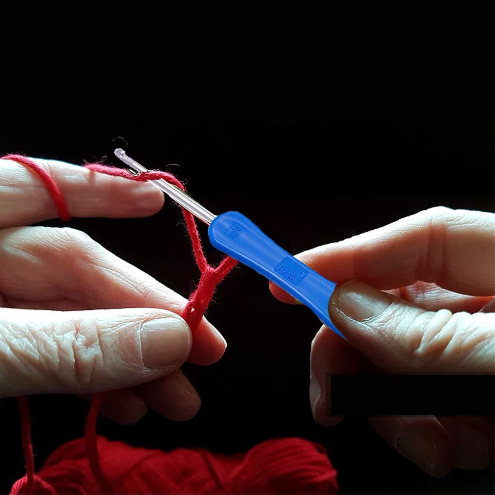 DABHAND - Juego de 15 agujas de ganchillo, incluye 11 ganchos de ...