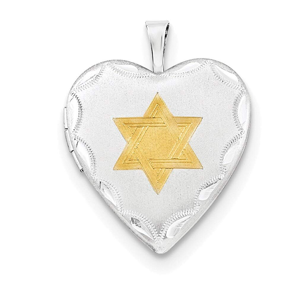 Lex /& Lu Sterling Silver 20mm Gold Plated Star of David Heart Locket-Prime