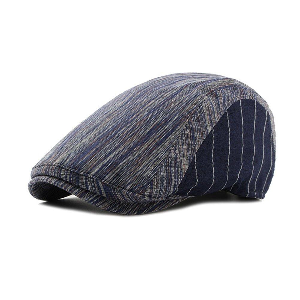 DSDZ Mens Cotton Striped Flat Gatsby Ivy Newsboy Cap Hat