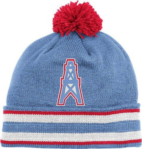 Houston Oilers Mitchell   Ness NFL Throwback Jersey Stripe Cuffed Knit Hat  w  Pom  Amazon.co.uk  Sports   Outdoors aa0638bafeb