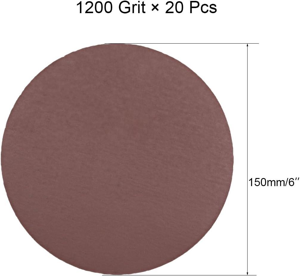 sourcingmap 20Pcs 6 inch Hook and Loop Sanding Disc 1200 Grits Flocking Sandpaper for Random Orbit Sander Brown