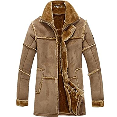 777a77ce5a78d6 Amazon.com: Doctag paradise Men's Vintage Sheepskin Jacket Fur Leather  Jacket Cashmere Shearling Coat: Clothing