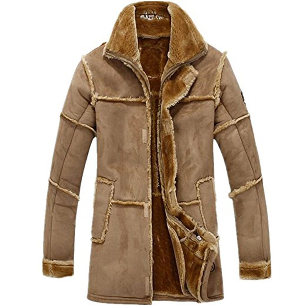 Doctag paradise Men's Vintage Sheepskin Jacket Fur Leather Jacket Cashmere Shearling Coat