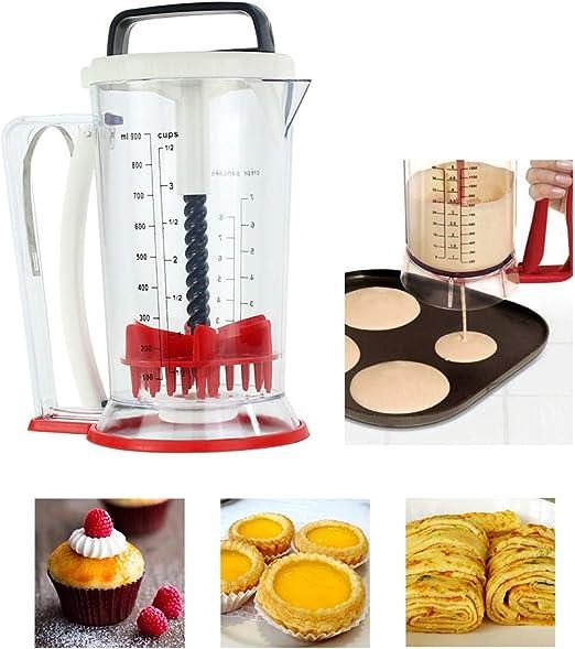 1X Stainless Steel Bakeware Maker Donut Batter Dispenser Funnel Measuring Label