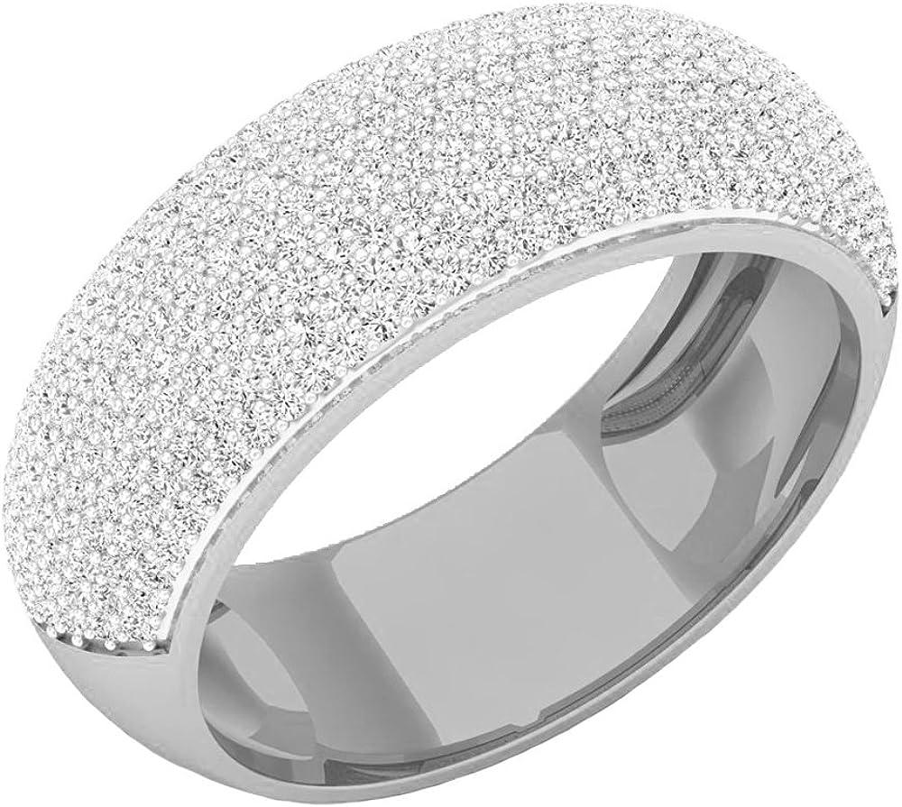 Dazzlingrock Collection 1.15 Carat (ctw) 10K Gold Round White Diamond Men's Micro Pave Hip Hop Wedding Band