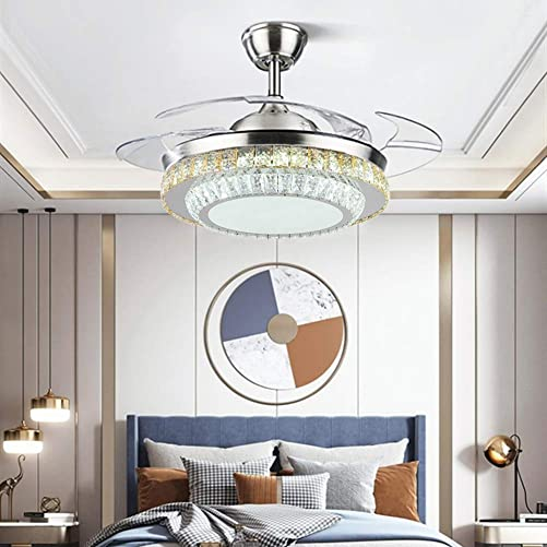 Fandian 42″ Modern Crystal Chandelier Ceiling Fan