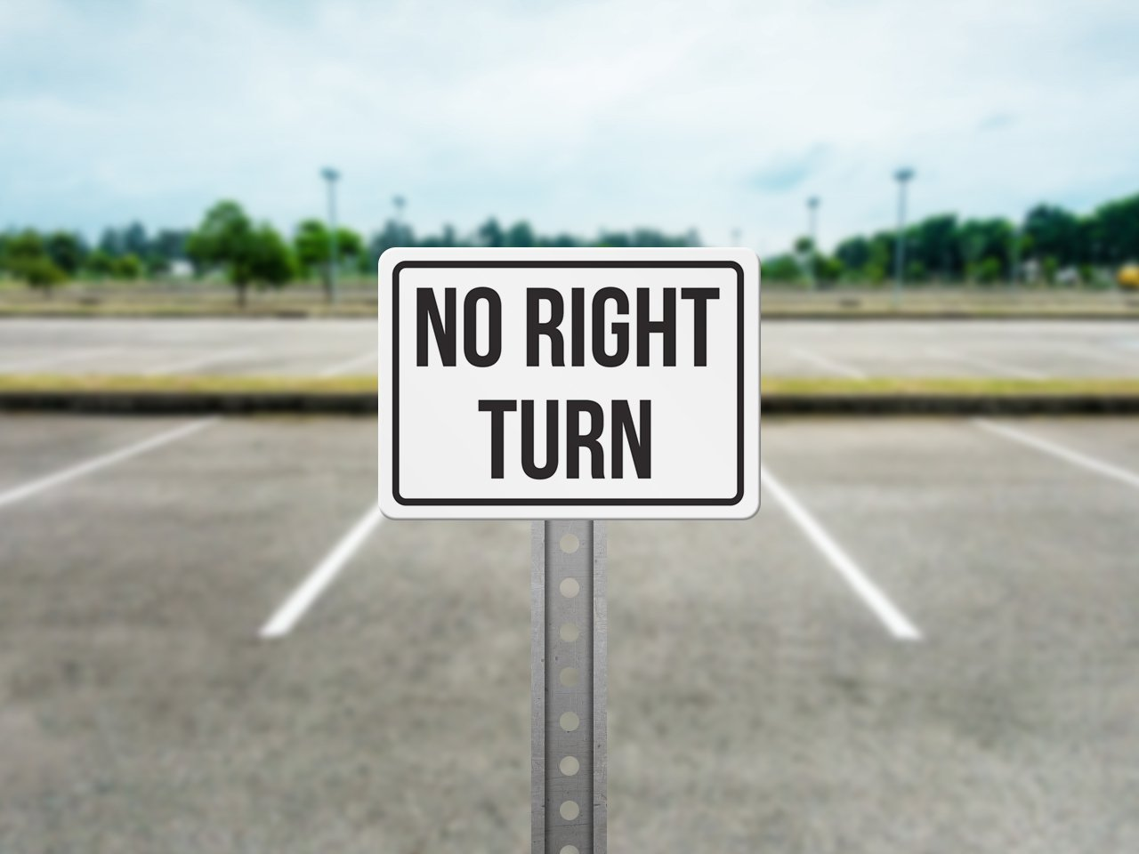 7.5x10.5 iCandy Products Inc No Right Turn No Parking Business Safety Traffic Signs Black Metal