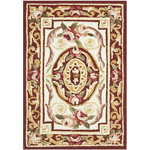 Runner Aubusson Wool (Safavieh Chelsea Collection HK72A Hand-Hooked Ivory and Burgundy Premium Wool Area Rug (1'8