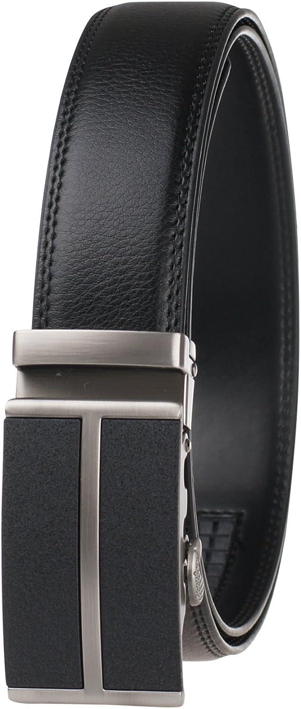 Black Genuine Leather Belt For Men-Ratchet Belt Automatic Buckle Business Belt GangTu