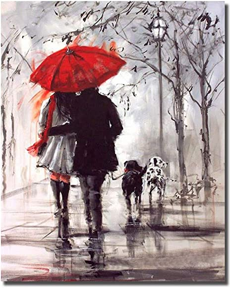 Amazon Com Hvest Lover Canvas Wall Art Couples Walking In Rain With Red Umbrella Artwork Lovely Dogs Painting For Living Room Bedroom Bathroom Office Wall Decor Stretched And Framed Ready To Hang 12x16