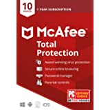 McAfee Total Protection 2020, 10 Device, Antivirus Internet Security Software, Password Manager, Parental Control, Privacy, 1