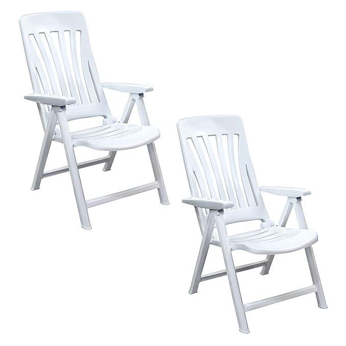 resol Blanes multifunción Plegable-posición Garden sillón - de plástico de Color Blanco - Unidades 2 sillas: Amazon.es: Jardín