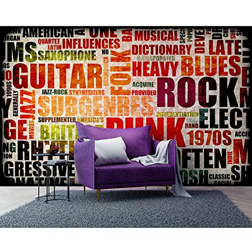 (STARTONIGHT Mural Wall Art Music of The '70s - Abstract Photo Wallpaper 100 x 140 Inches)