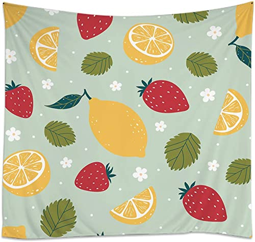 Moslion Fruits Tapestry Floral Leaf Yellow Lemon Red Strawberry Green Leaves White Flower Wall Tapestries for Bedroom Large Home Decorative Polyester Tapestries 60×90 Inch