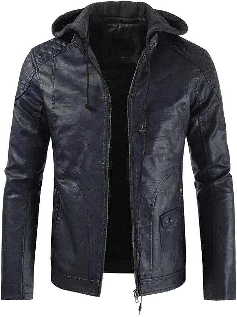 Bravepe Mens Slim Floral Printed Hooded Casual Fleece Lined Pu Leather Moto Jacket Coat
