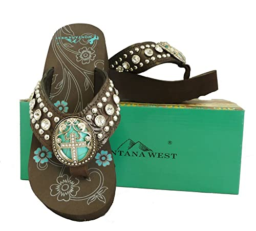 e1b5cc676 Montana West Ladies Flip Flops Turquoise Stone Pewter Cross Concho Coffee
