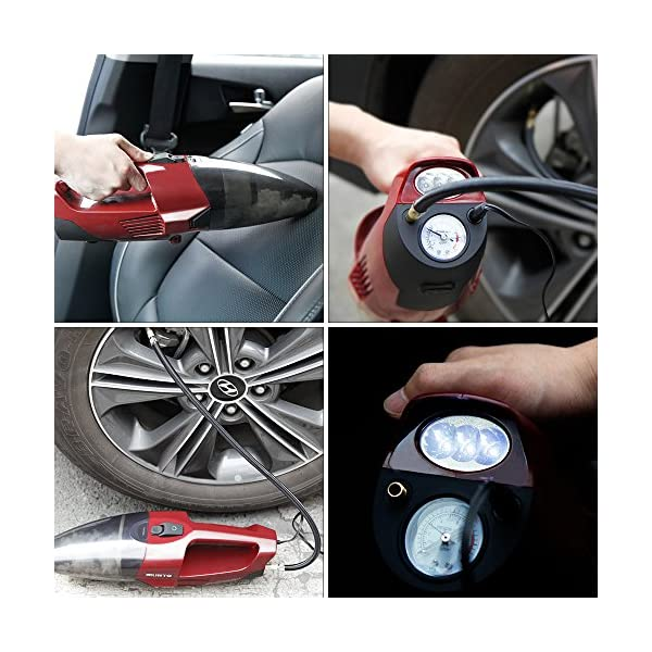 MUNTO Car Vacuum Cleaner 4 In 1 Multifunctional Portable Handheld With Air Inflator Tire Pressure Gauge And LED Light 4000Pa 120W WetDry With 164Ft Car Cigarette Lighter Power Cord