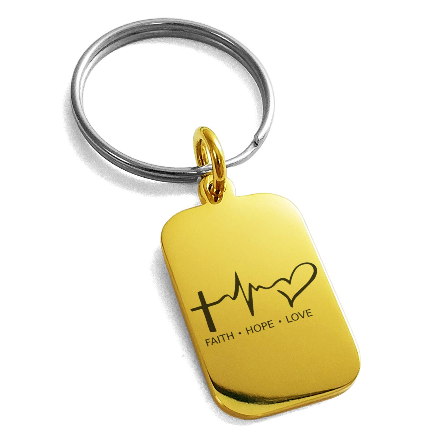 Tioneer Gold Plated Stainless Steel Faith Hope Love Lifeline Engraved Small Rectangle Dog Tag Charm Keychain Keyring