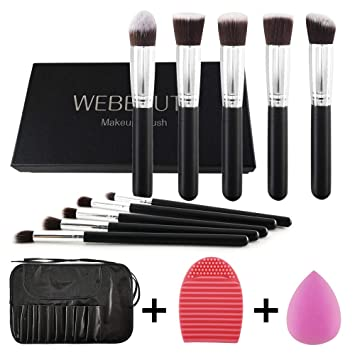 0880c9f0e42e5 WEBEAUTY Makeup Brushes Set Bag 10 Pieces Premium Synthetic Foundation Brush  Blending Face Powder Blush Concealers
