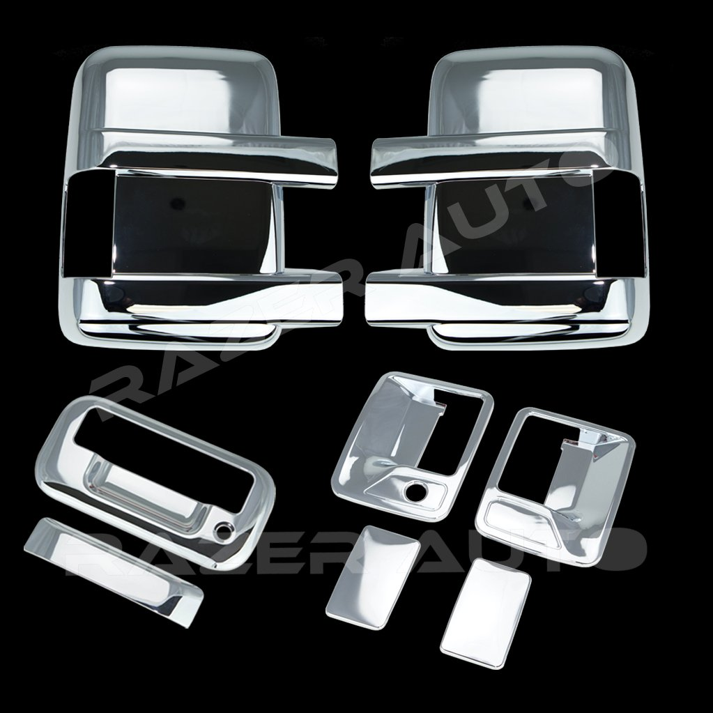 Tailgate Handle without Camera Hole Cover for 08-15 Ford F250+F350+F450 Super Duty Razer Auto Triple Chrome Plated Mirror 2 Door Handle without Passenger Keyhole