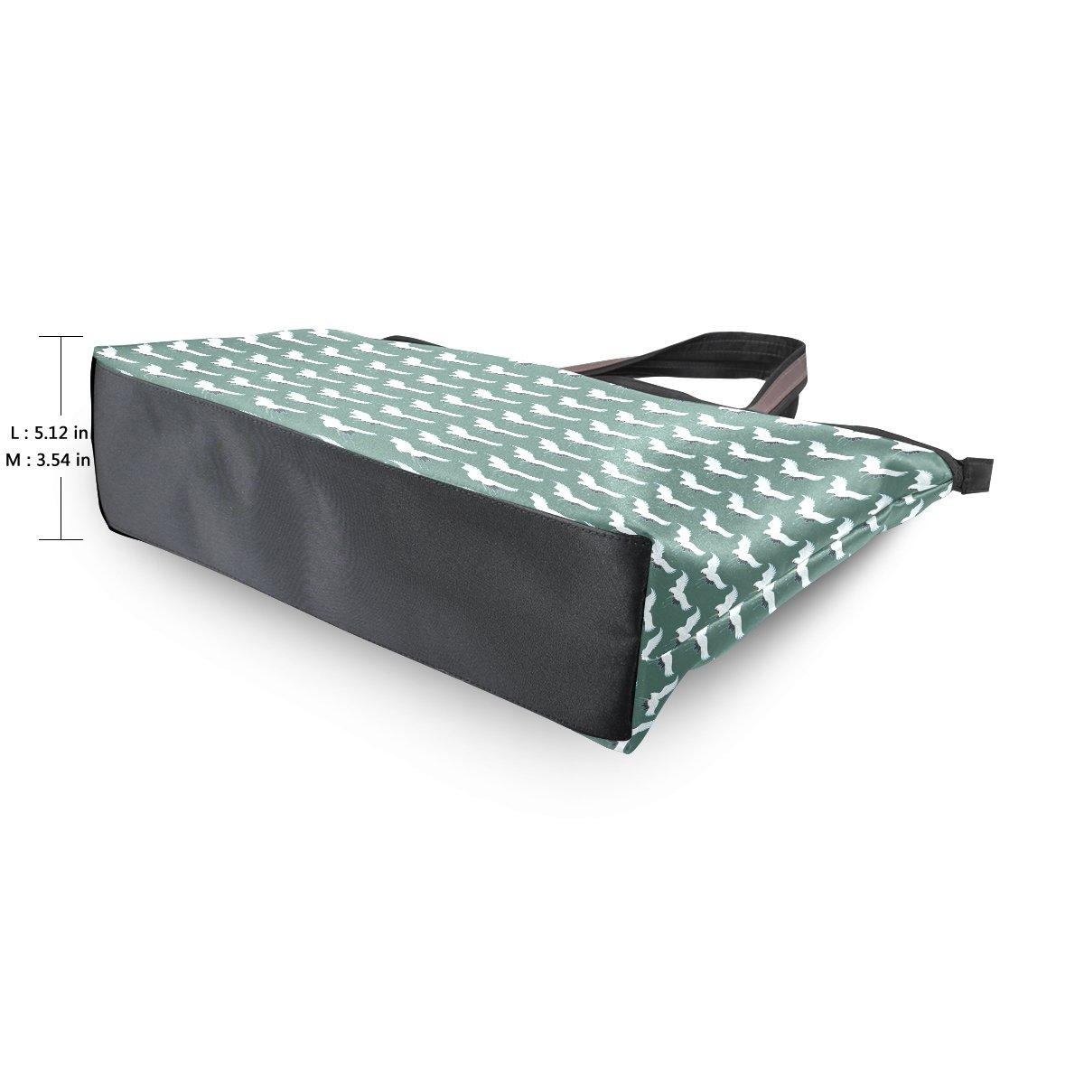 LEEZONE Microfiber Shoulder Handbags Tote Bags with Crane Pattern