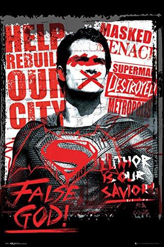 Batman Vs. Superman: Dawn Of Justice - Propaganda Movie Poster / Print (Superman - False God) (Size: 24
