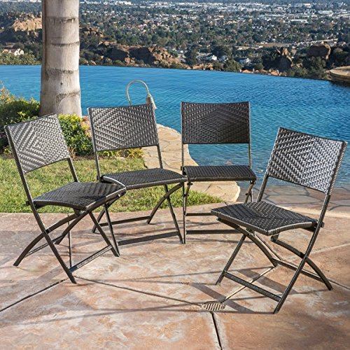 Folding Wicker - Outdoor Folding Chair, (Set of 4) | Brown Wicker Folding Chair