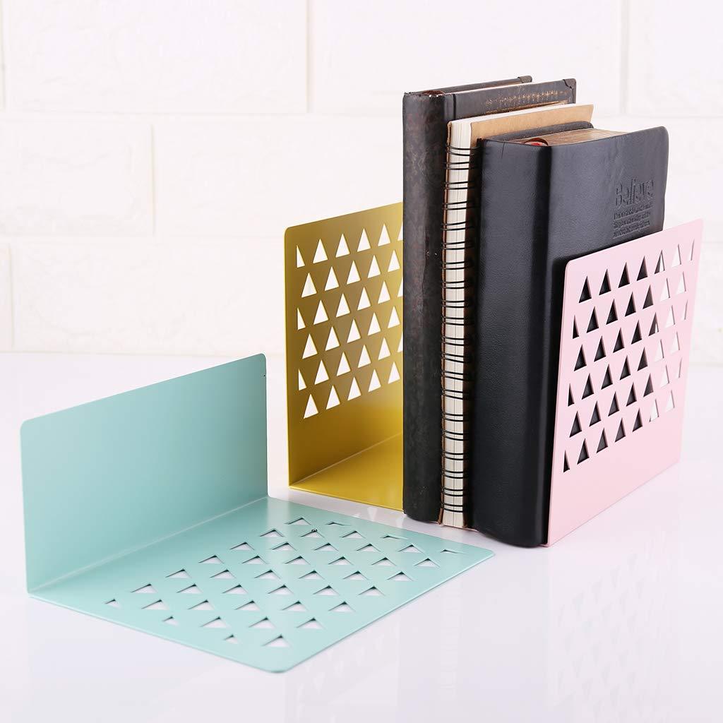 Lisanl Metal Hollow Desktop Organizer Bookends Book Ends Support Stand Holder Shelf Bookrack Home Office Supplies