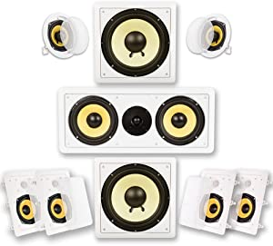 Acoustic Audio by Goldwood HD725 Flush Mount in-Wall/Ceiling Home Theater 7.2 Surround Sound 5.25 Inch Speakers (9 Speakers, 7.2 Channels, White)