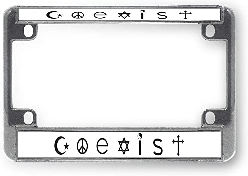 NEVER FORGOTTEN WHITE BLACK Chrome Metal Bike Motorcycle License Plate Frame Tag