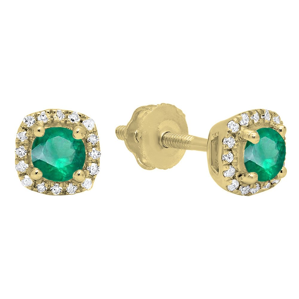 10K Yellow Gold Round Cut Emerald & White Diamond Ladies Halo Style Stud Earrings