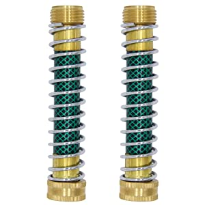 Twinkle Star Garden Hose Coiled Spring Protector with Solid Brass Faucet Hoses Coupling Adapter
