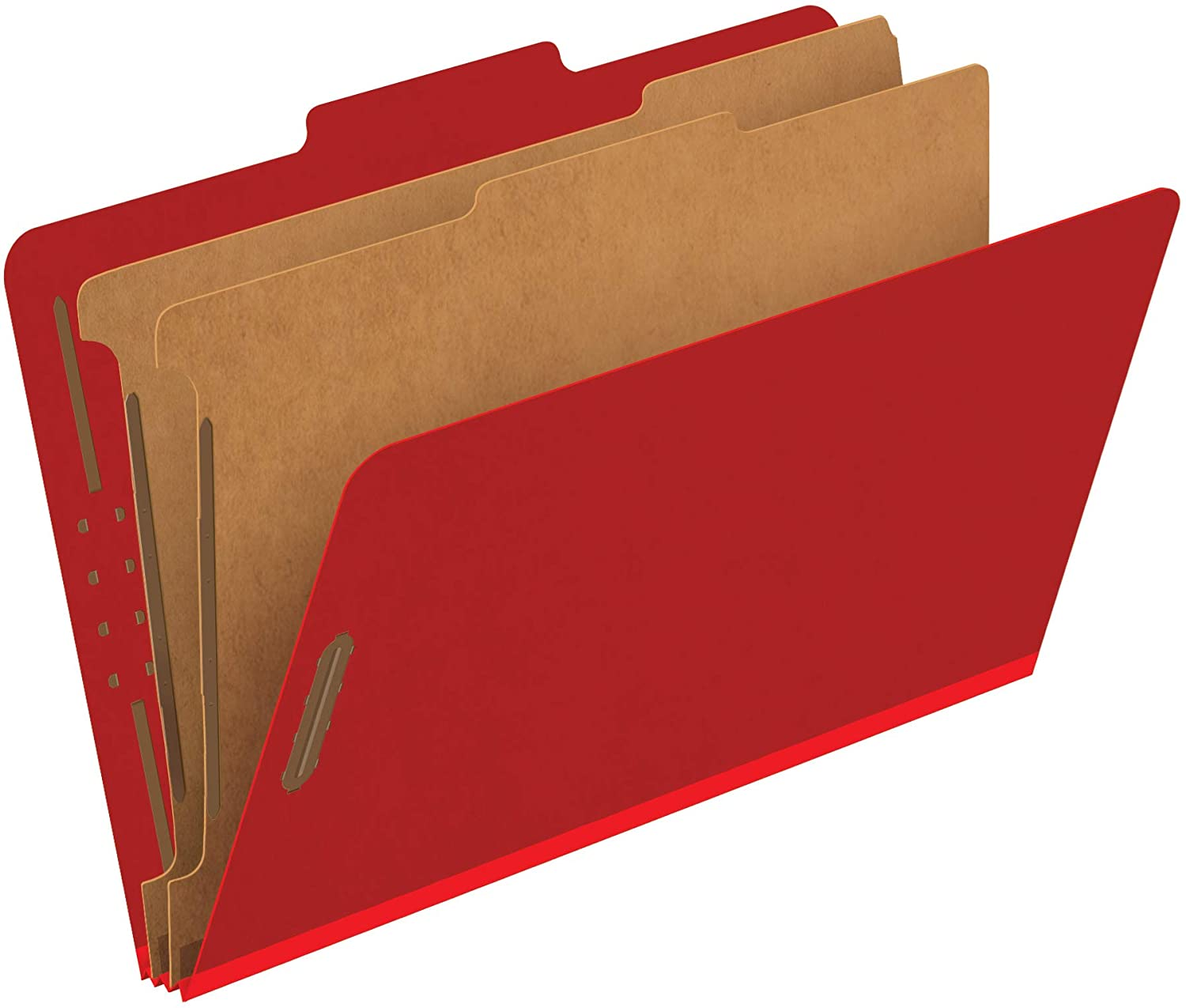 Pendaflex Classification Folders, Standard, 2 Dividers, Embedded Fasteners, 2/5 Cut Tab, Bright Red, Legal Size, 10/BX (29031P)