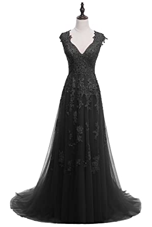 HEAR Womens Elegant Long Prom Dresses V Neck Party Dress Plus Size Hear104 Black 0