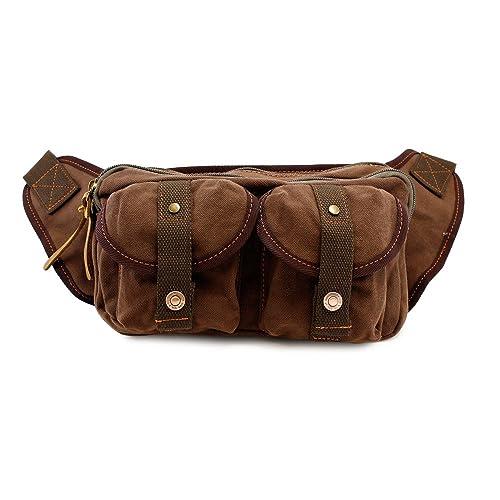 GEARONIC TM Men s Military Canvas Waist Leg Fanny Vintage Travel Waist Hip  Pack Messenger Hiking Bag 7646e7187c620