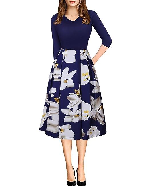 Vestidos Invierno Mujer Slim Fit Vestidos de Fiesta para Bodas Vestidos Elegantes Cortos Vestidos Florales Azul