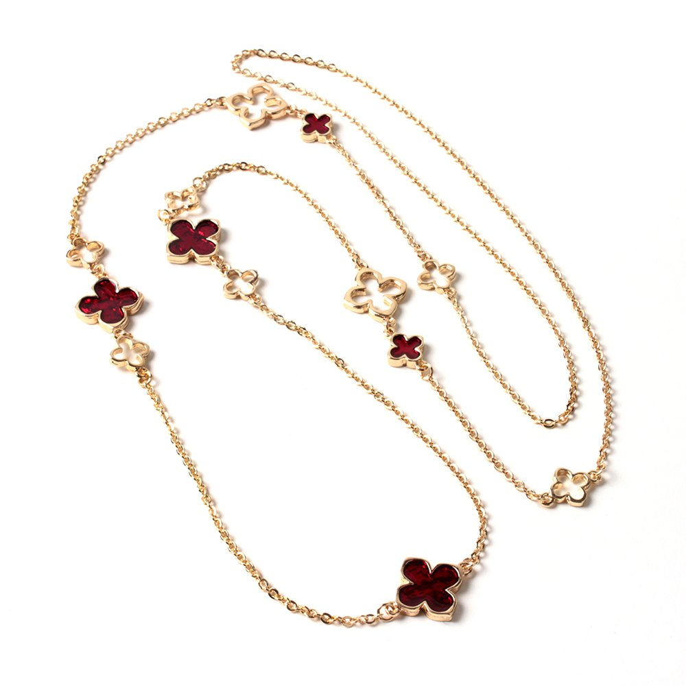 Amrita Singh Royal Clover Necklace Ruby NKC 2112-Ruby