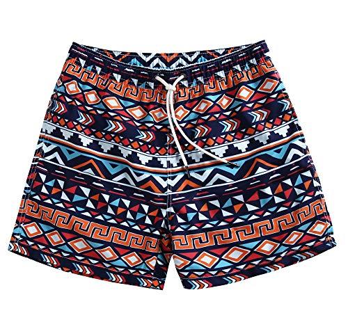 Swim Trunks Retro (WUAMBO Mens Short Swim Trunks Quick Dry Beach Broad Shorts Swimsuit with Mesh Lining #15 Large (Waist 34