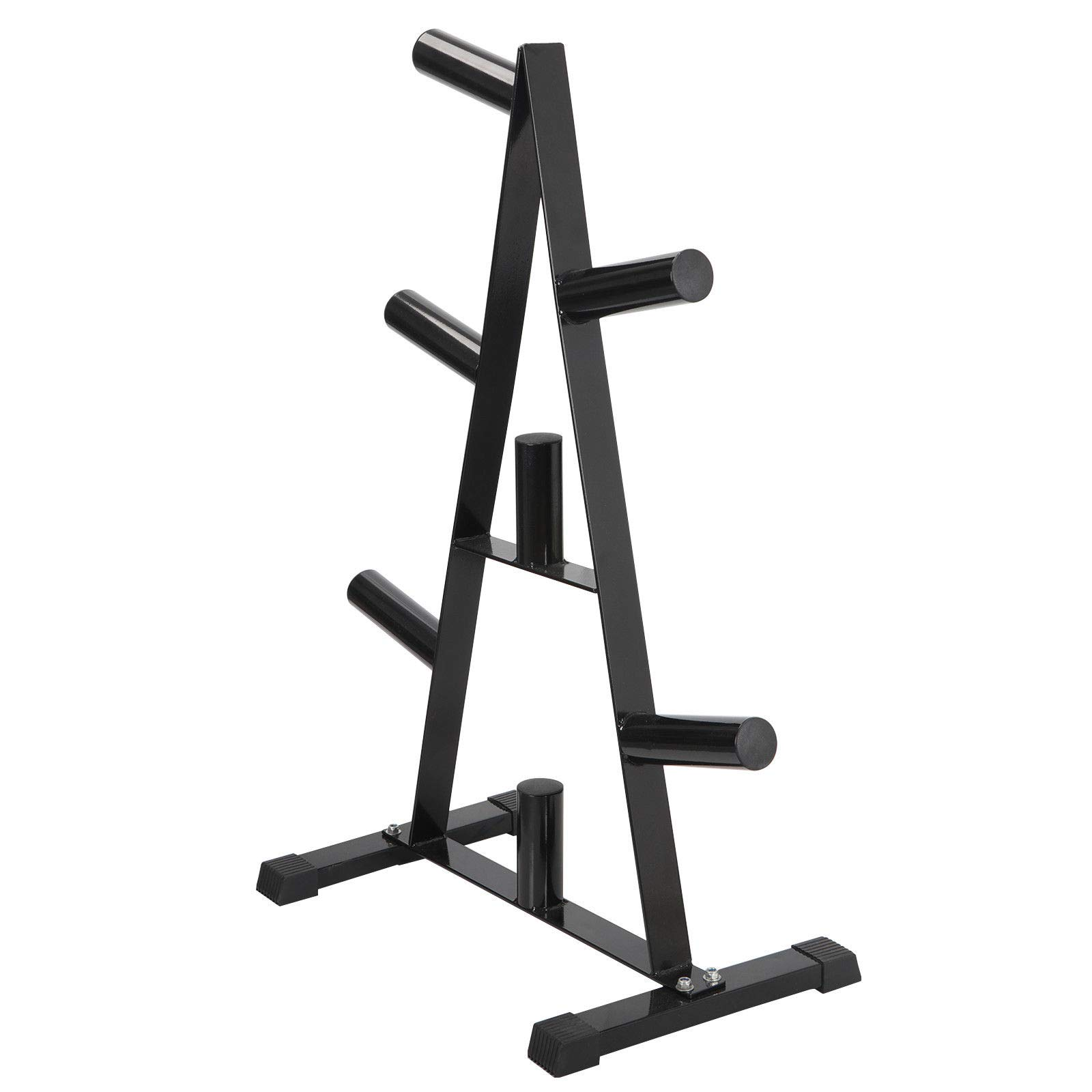 nitipezzo Free Up More Space, Durable Steel Construction and A Compact Design, Fitness Olympic 2'' Weight Plate Rack Tree&Barbell Holder Organizer Stand Storage