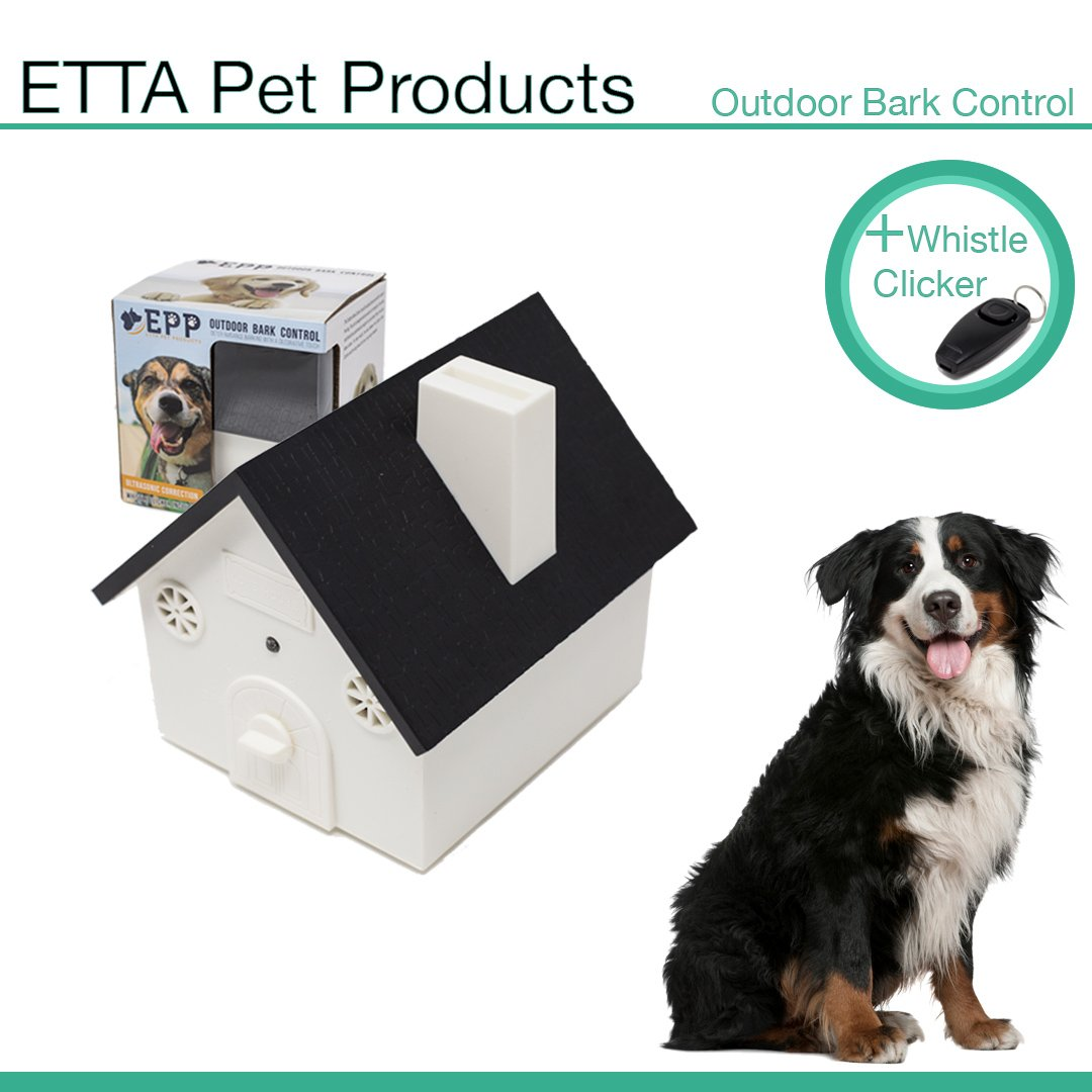 Etta Pet Products Ultrasonic Anti Barking Device - Outdoor Bark Control Deterrents - With Dog Training Clicker Whistle - Training Tool Dogs - 50 Feet Range (9V Battery Not Included)