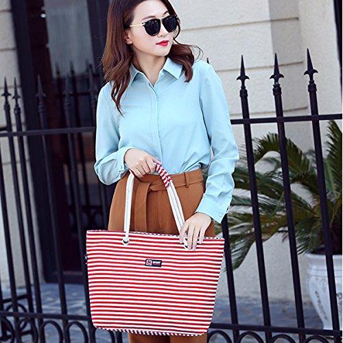 la la la la de lona asas las de playa de de moda de bolsa raya de de la hombro mujeres Bolso de las Bolso vacaciones de Bolso de azul Rojo compras de Flada gCxF1q5w