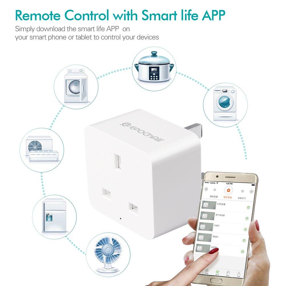 Smart Home Wifi Plug, EpochAir inalámbrico Smart Socket Interruptor de encendido con salida de alimentación funciona con Amazon Alexa Echo Google Home, ...